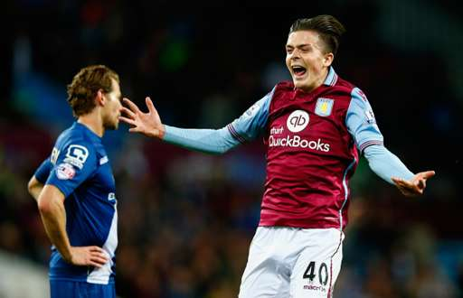 BIRMINGHAM, ENGLAND - SEPTEMBER 22: Jack Grealish of Aston Villa celebrates victory during the Capital One Cup third round match between Aston Villa and Birmingham City at Villa Park on September 22, 2015 in Birmingham, England. (Photo by Shaun Botterill/Getty Images)