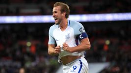 England's Harry Kane celebrates scoring his side's first goal of the game during the 2018 FIFA World Cup Qualifying, Group F match at Wembley Stadium, London.