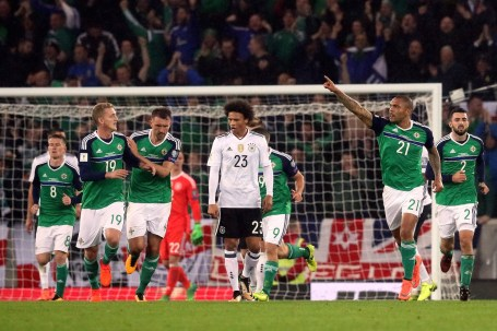 Northern Ireland's Josh Magennis celebrates scoring his side's first goal of the game during the 2018 FIFA World Cup Qualifying, Group C match at Windsor Park, Belfast. PRESS ASSOCIATION Photo. Picture date: Thursday October 5, 2017. See PA story SOCCER N Ireland. Photo credit should read: Brian Lawless/PA Wire. RESTRICTIONS: Editorial use only, No commercial use without prior permission.